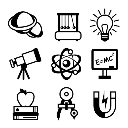 Physics science equipment teaching and studying black and white education icons set isolated vector illustration Vector