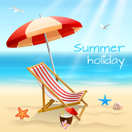sea shells on beach: Summer holidays beach background poster with chair starfish and cocktail vector illustration