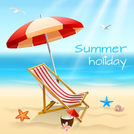 Zomervakantie strand achtergrond poster met stoel zeesterren en cocktail vectorillustratie Stock Illustratie