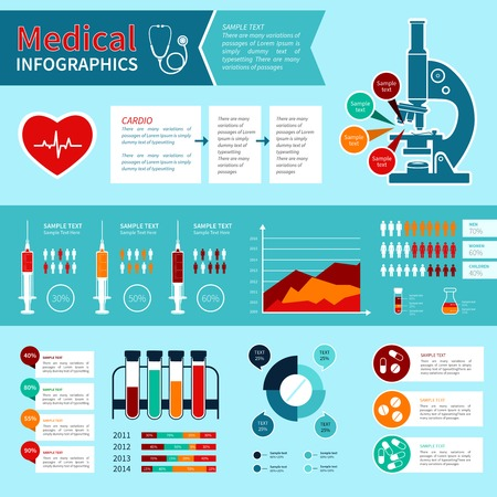 Flat medical emergency first aid care infographic elements with charts and graphs vector illustration Vector