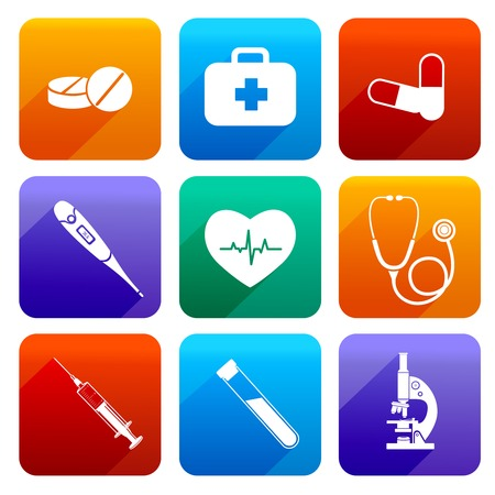 emergency kit: Flat medical emergency first aid care icons set with pill first kit heartbeat isolated vector illustration