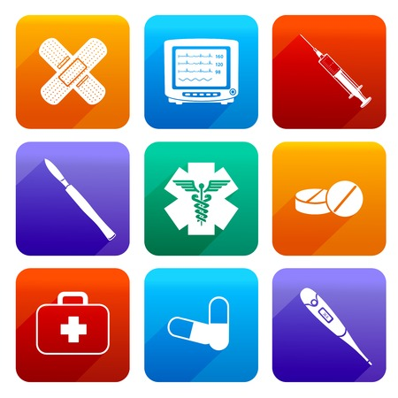Flat medical emergency first aid care icons set with capsule sticking plaster scalpel isolated vector illustration Illustration