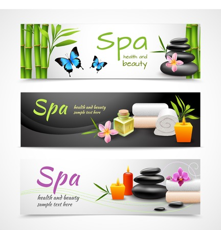 Realistic spa beauty health care banner set with stones towels candles isolated vector illustration Vector