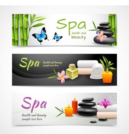 Realistische spa beauty gezondheidszorg banner die met stenen handdoeken kaarsen geïsoleerd vector illustratie