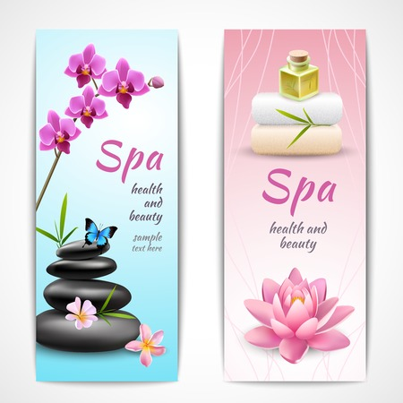 skin oil: Spa beauty health care vertical banner set with orchids lotus butterfly isolated vector illustration