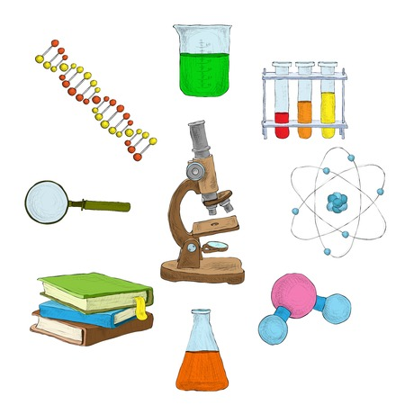 books isolated: Science decorative elements icons set with microscope dna flasks books isolated vector illustration Illustration