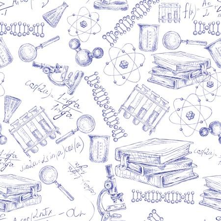 현미경 플라스크 원자 DNA 구조 벡터 일러스트와 함께 과학 스케치 원활한 패턴