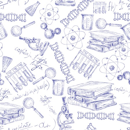 science scientific: Science sketch seamless pattern with microscope flask atom dna structure vector illustration