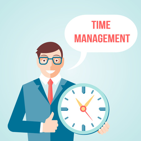 effective: Time management for effective business day planning businessman cartoon character retro style print poster vector illustration