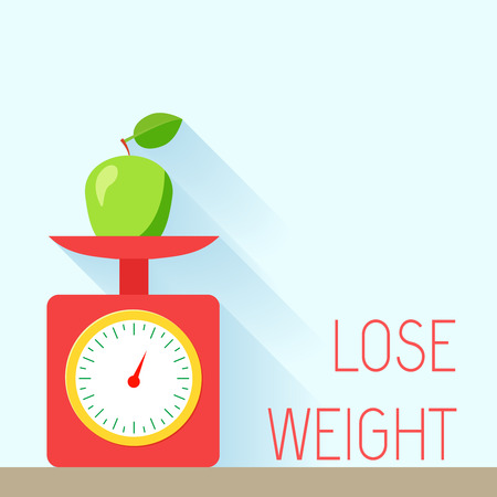eating right: Lose weight diet body balance poster with scales and apple vector illustration