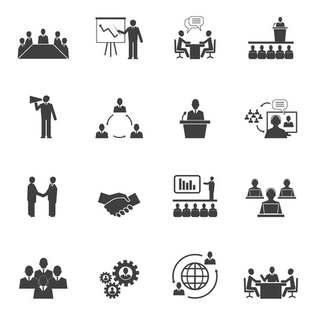 Les gens d'affaires en ligne réunion pictogrammes stratégiques fixés de conférence en ligne de présentation et le travail d'équipe illustration vectorielle isolé