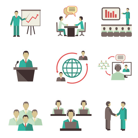 client meeting: Business people online global discussions teamwork collaboration, meetings and presentations concept icons set isolated vector illustration