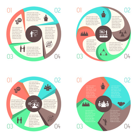 Meeting people online business infographics design elements set of pie charts isolated vector illustration Vector
