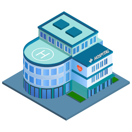 Modern 3d urban hospital building with helipad on the roof isometric isolated vector illustration Vector