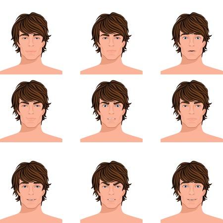 dark hair: Hombre joven de pelo oscuro emociones var�an de enojar desconcertado alerta sorprendido y feliz cabeza retratos colecci�n, ilustraci�n vectorial