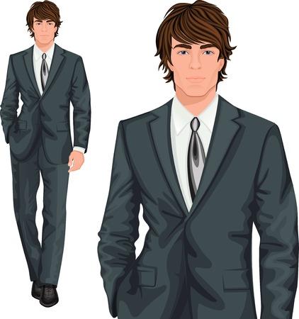 beau jeune homme: Jeune homme d'affaires professionnel attrayant élégamment vêtu d'un vecteur bouton de costume formel illustration