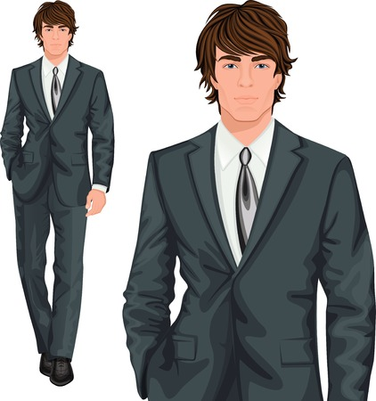 Junge attraktive Geschäftsmann professionelle elegant in formale Knopf Anzug gekleidet Vektor-Illustration
