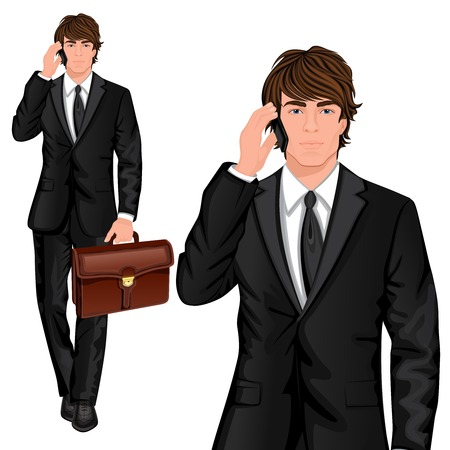 Young professional man dressed in one button suit talking mobile phone and business briefcase vector illustration Illustration