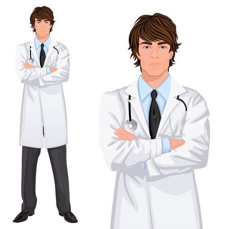 Mladý pohledný muž lékařství lékař asistent stojící v bílém plášti se stetoskopem, paže zkřížené vektorové ilustrace