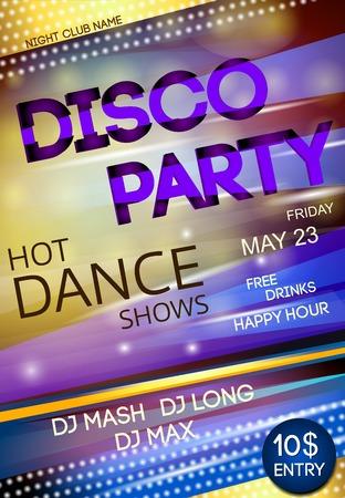 soir�e: Publicit� danse de partie de bo�te de nuit disco affiche vecteur d'�v�nement panneau illustration