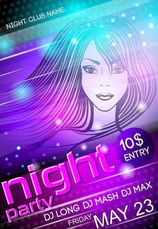 evening party: Nightclub disco party advertising billboard with sexy girl event poster vector illustration