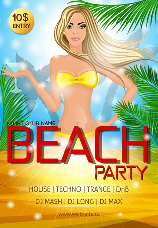 tropical drink: Nightclub beach party advertising poster with beautiful sexy bikini girl cocktail drink and tropical decor vector illustration