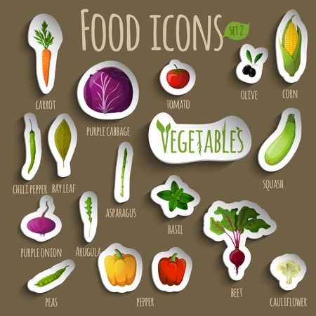 Food vegetables doodle stickers set of carrot pepper onion peas asparagus squash vector illustration Vector