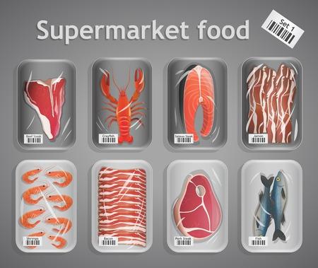 Bevroren verse vis en vlees supermarkt voedsel in de verpakking decoratieve elementen vector illustratie Stock Illustratie