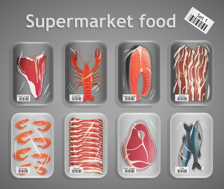 Frozen fresh fish and meat supermarket food in pack decorative elements vector illustration Vector
