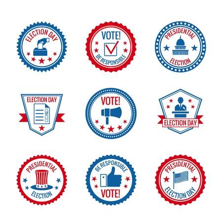 政府および大統領選挙と投票ラベル議事堂人シンボル分離ベクトル イラスト入り