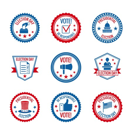 vote: Government and presidential elections and voting labels set with capitol building person symbols isolated vector illustration