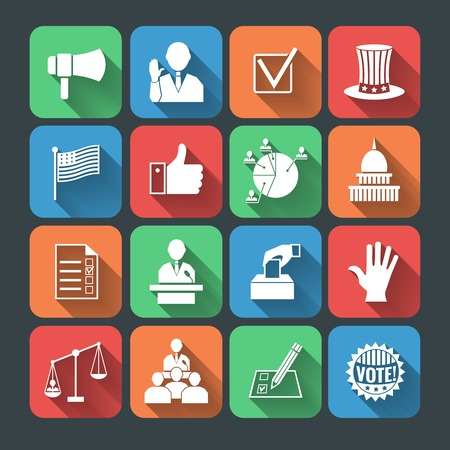 debate: Elections and voting long shadow icons set of hand symbol president speech campaigning megaphone isolated vector illustration