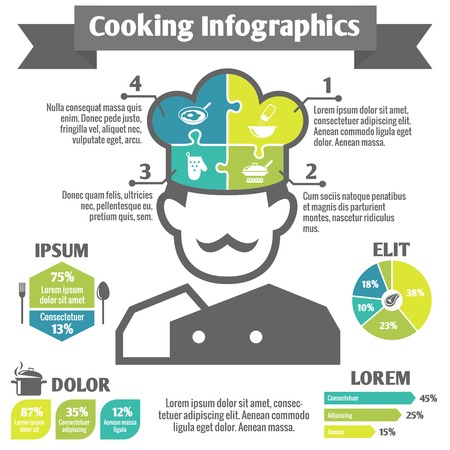 Cooking food kitchen and restaurant infographic elements with chef in hat vector illustration Illustration