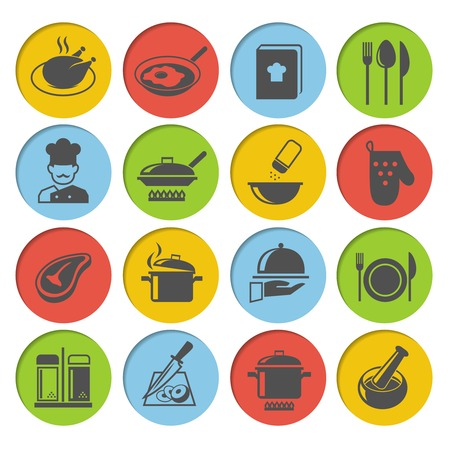 recipe book: Cooking kitchen and restaurant icons set with chicken chef recipe book pot pan isolated vector illustration Illustration