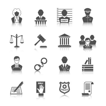 Wet juridische rechtvaardigheid rechter en wetgeving pictogrammen die met geïsoleerd schalen rechtbank hamer vector illustratie Stockfoto - 27827972