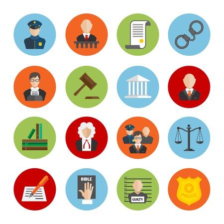 Právo právní spravedlnost soudce a legislativa plochá ikony set izolované ilustrace
