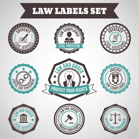 legal services: Legal protection services layer crime and punishment labels set isolated vector illustration