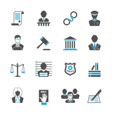 Law legal justice crime and punishment  icons set with handcuff barrister isolated vector illustration Çizim