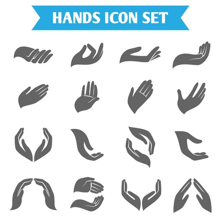 Open empty hands holding protect giving gestures icons set isolated vector illustration Ilustração