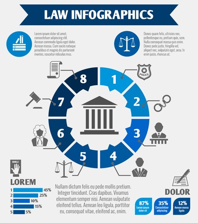 Wet juridische rechtvaardigheid infographics met grafieken en diagrammen wetgeving elementen vector illustratie