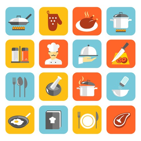 cook book: Cooking kitchen and restaurant flat icons set with pan glove chicken chef isolated vector illustration