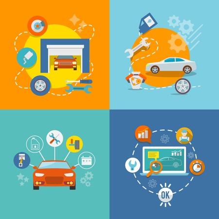 Automonteur serviceflat iconen van-onderhoud garage en werken geïsoleerd vector illustratie