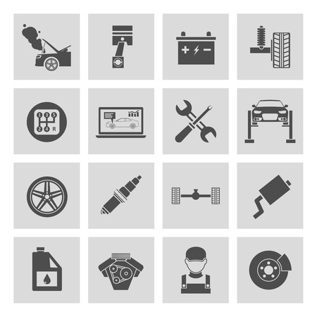 tire change: Auto car service icons set of battery tires wheel engine brake repair isolated vector illustration. Illustration
