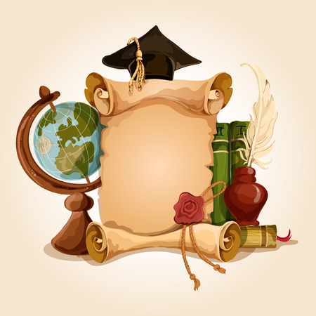 inkstand: College university old style vintage graduation diploma certificate with globe and books vector illustration