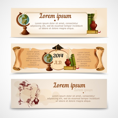 College university old style vintage graduation diploma certificate banners set isolated vector illustration Vector