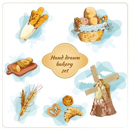 puff pastry: Bakery bread and pastry food hand drawn decorative elements set vector illustration