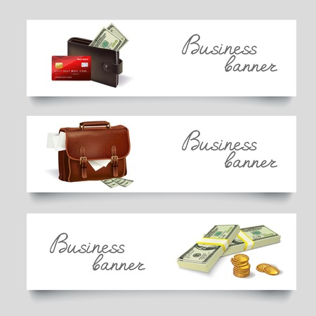 Business briefcase and wallet with money coins dollars banner set vector illustration Vector