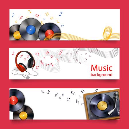 auriculares dj: Discos de vinilo auriculares y el jugador banners horizontales ilustración vectorial