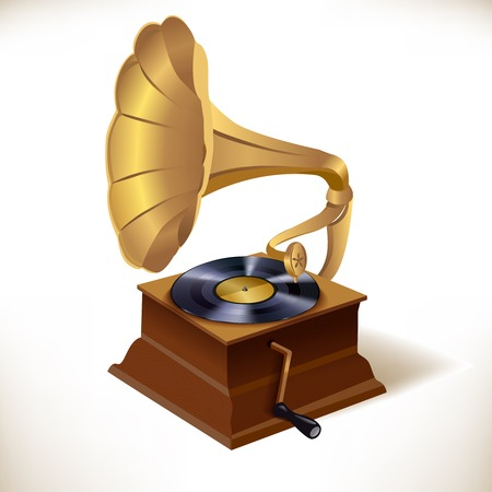 gramophone: Vintage retro vinyl plates gramophone print template vector illustration Illustration