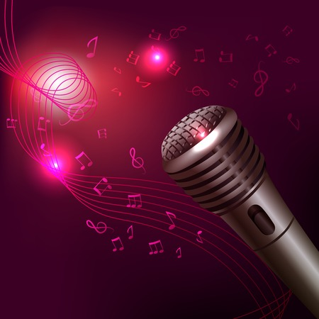 amplify: Music symbols background karaoke microphone musical equipment print vector illustration